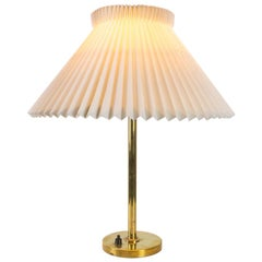 Brass Table Lamp with Le Klint Shade, Denmark, 1960s