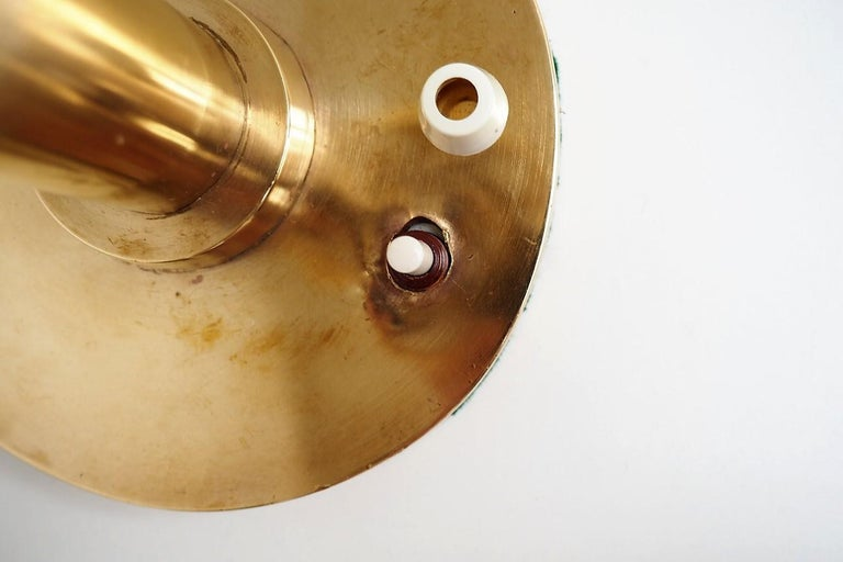 Brass Table Lamp with Opal Glass Shade from Louis Poulsen, 1950s In Good Condition For Sale In Spoettrup, DK
