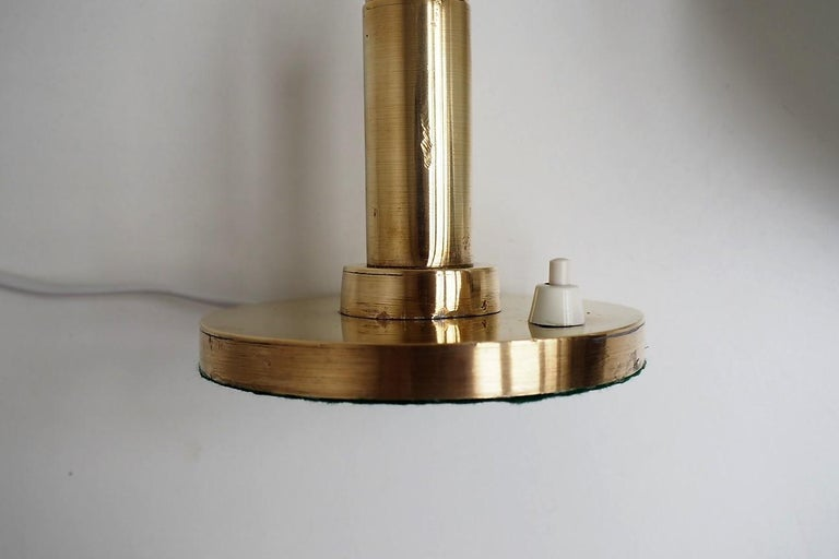 Brass Table Lamp with Opal Glass Shade from Louis Poulsen, 1950s For Sale 1