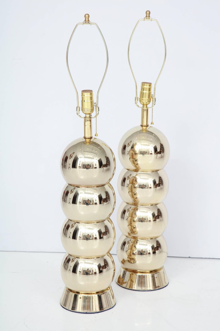 American Brass Table Lamps, Midcentury, Pair For Sale