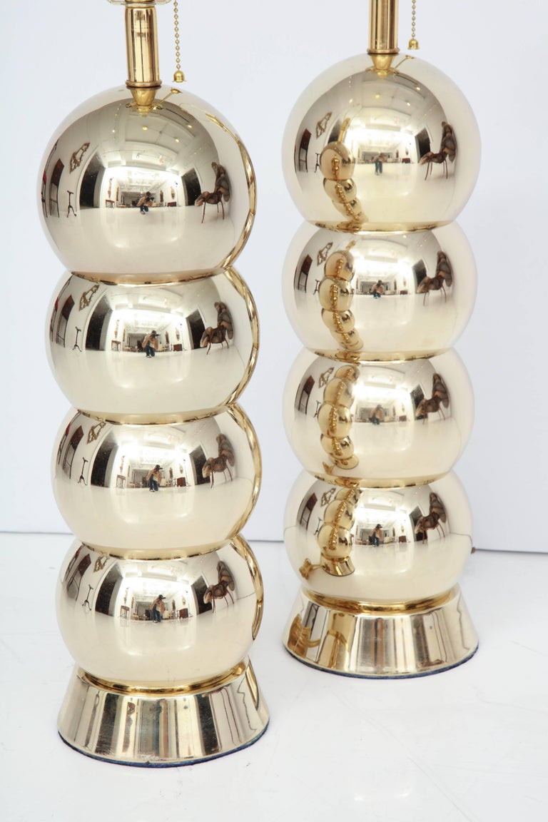 Polished Brass Table Lamps, Midcentury, Pair For Sale