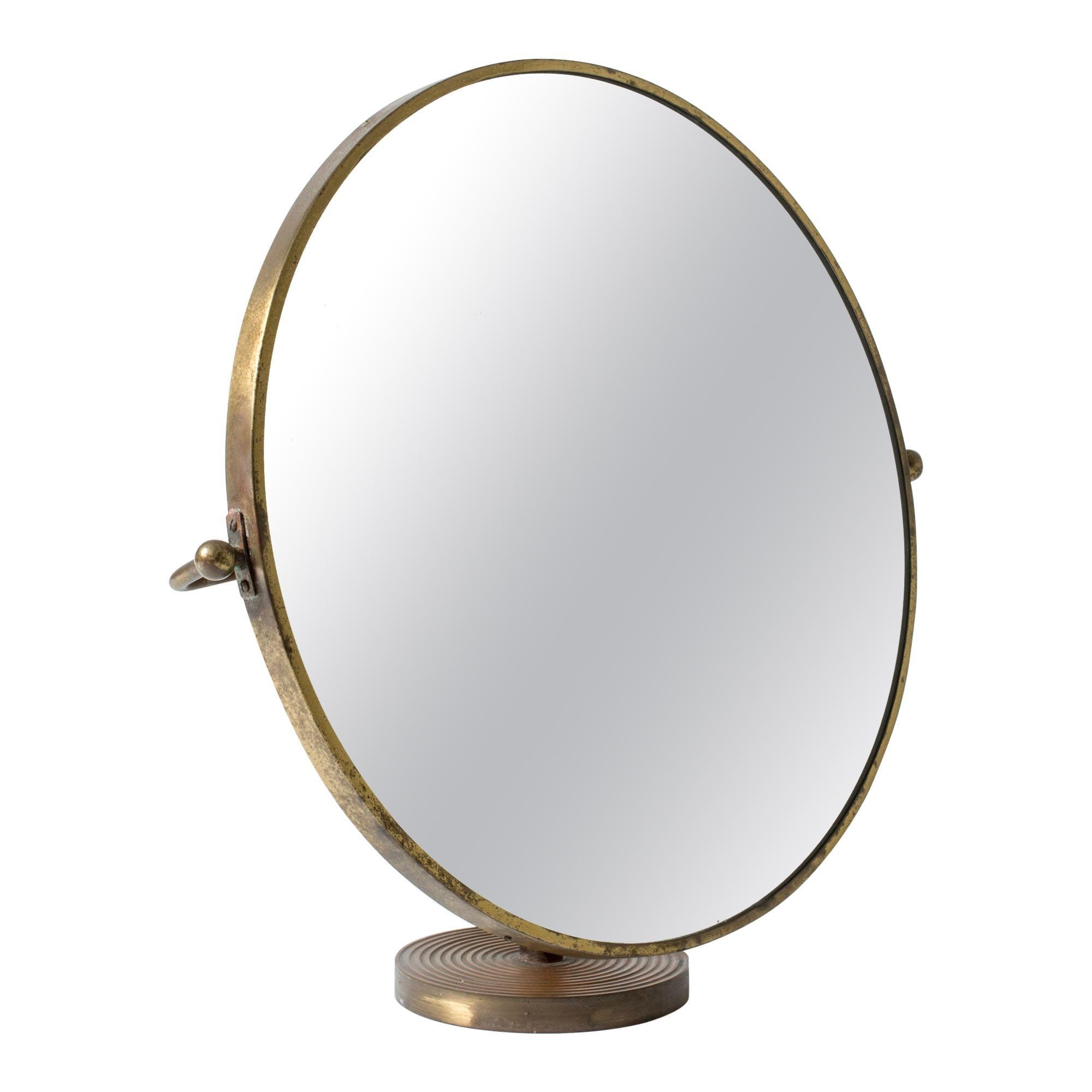 Brass Table Mirror by Josef Frank for Svenskt Tenn, Sweden, 1950s