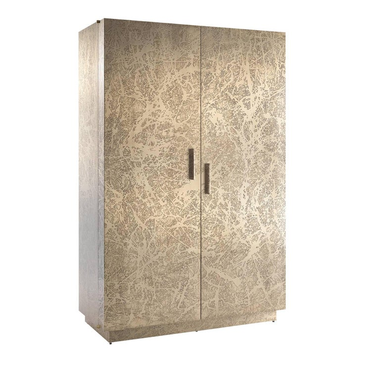 Brass Tall Cabinet For Sale