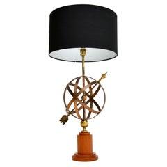 Brass & Teak Armillary Sphere Vintage Table Lamp