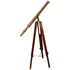 Brass Telescope with Adjustable Wooden Tri-Pod Base