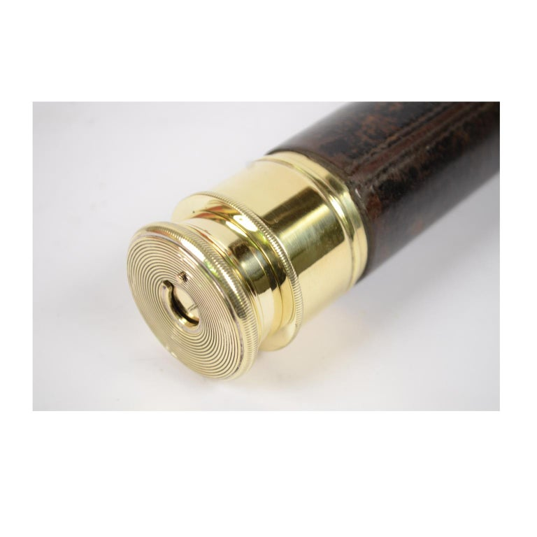 Brass Telescope with Leather-Covered Handle For Sale 5