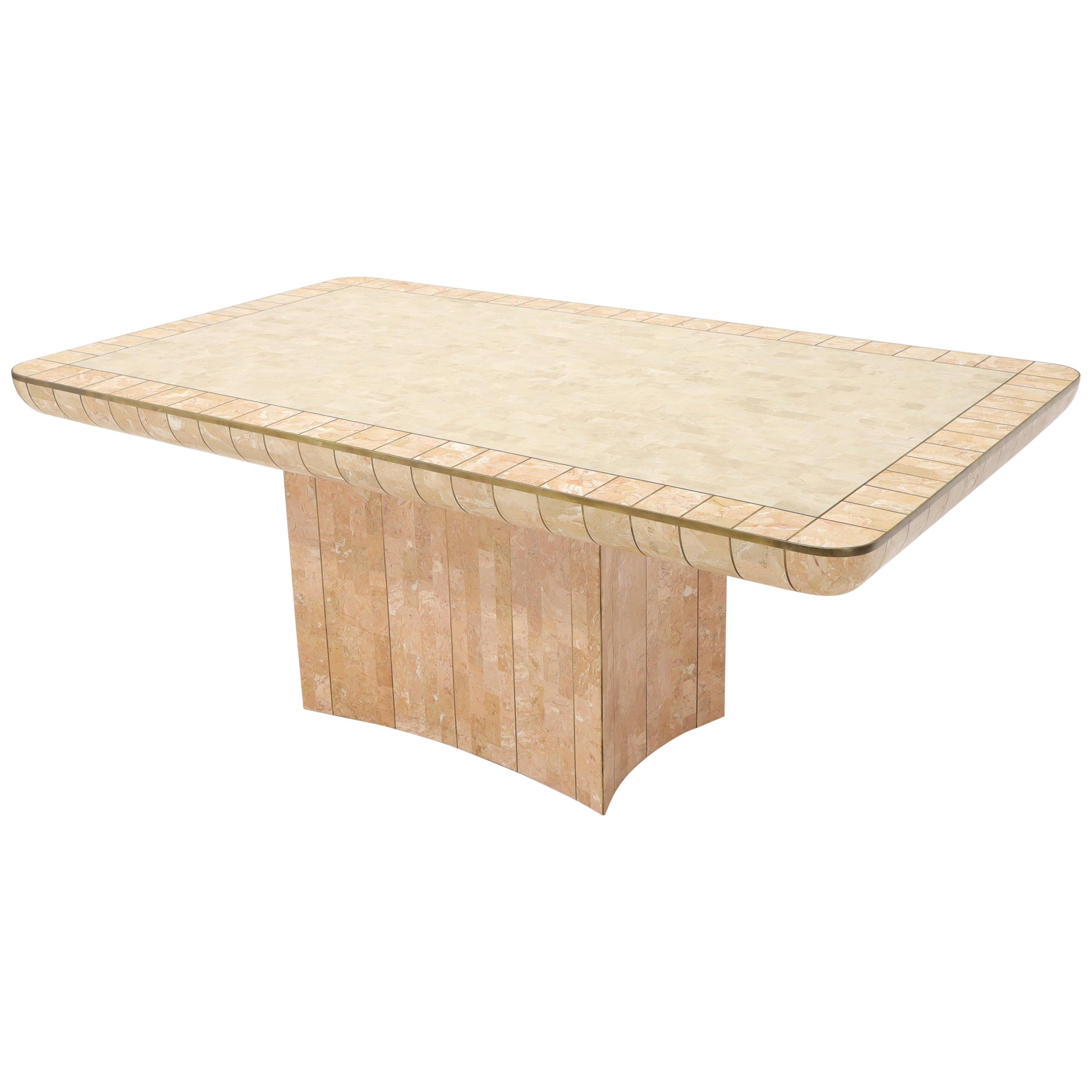Brass & Tessellated Marble Stone Tile Top Dining Conference Tables