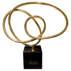 Brass Thin Ribbon Shaped Free Form Sculpture, Indonesia, Contemporary
