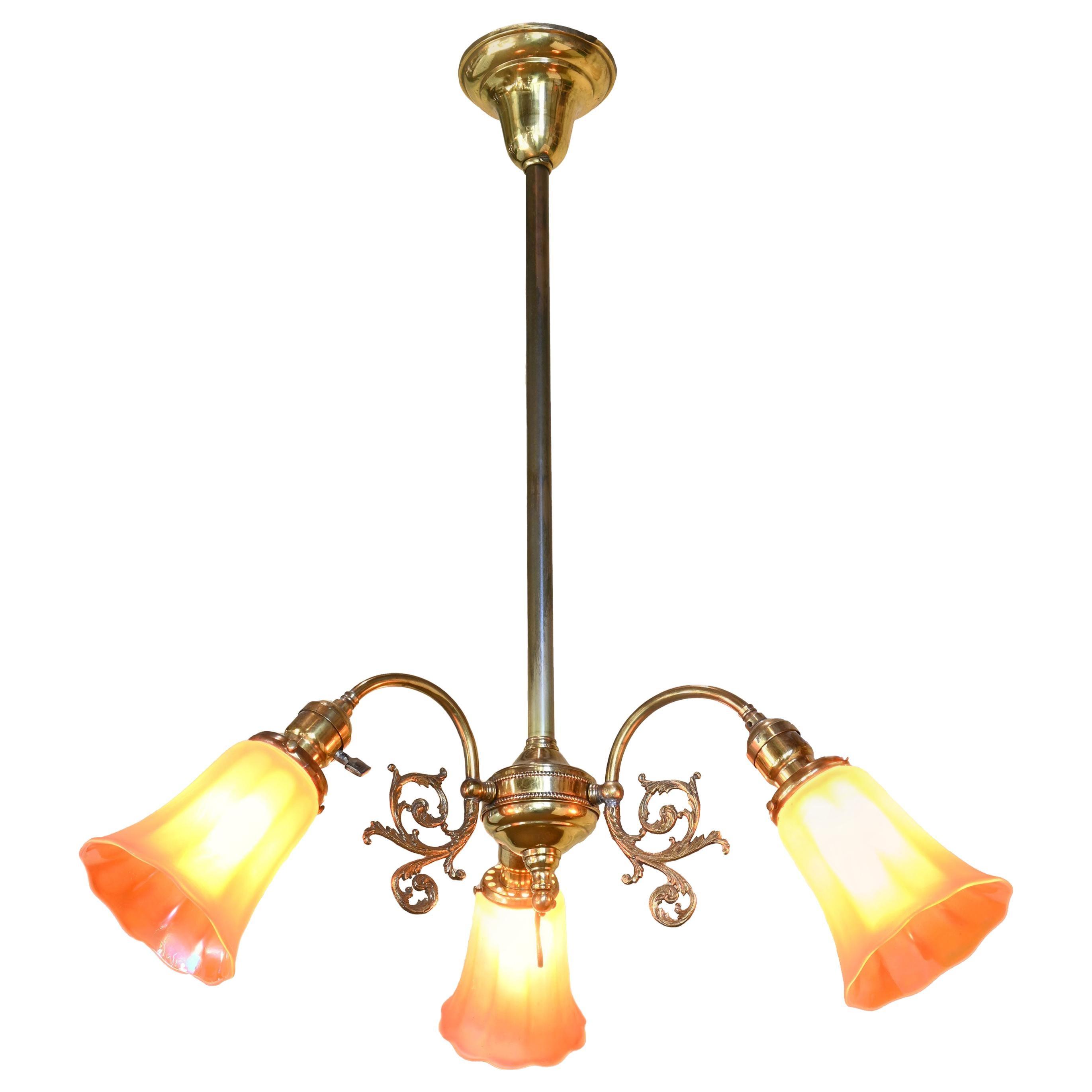 Brass Three-Light Chandelier with Nuart Shades