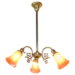 Brass Three-Light Chandelier with Nuart Shades