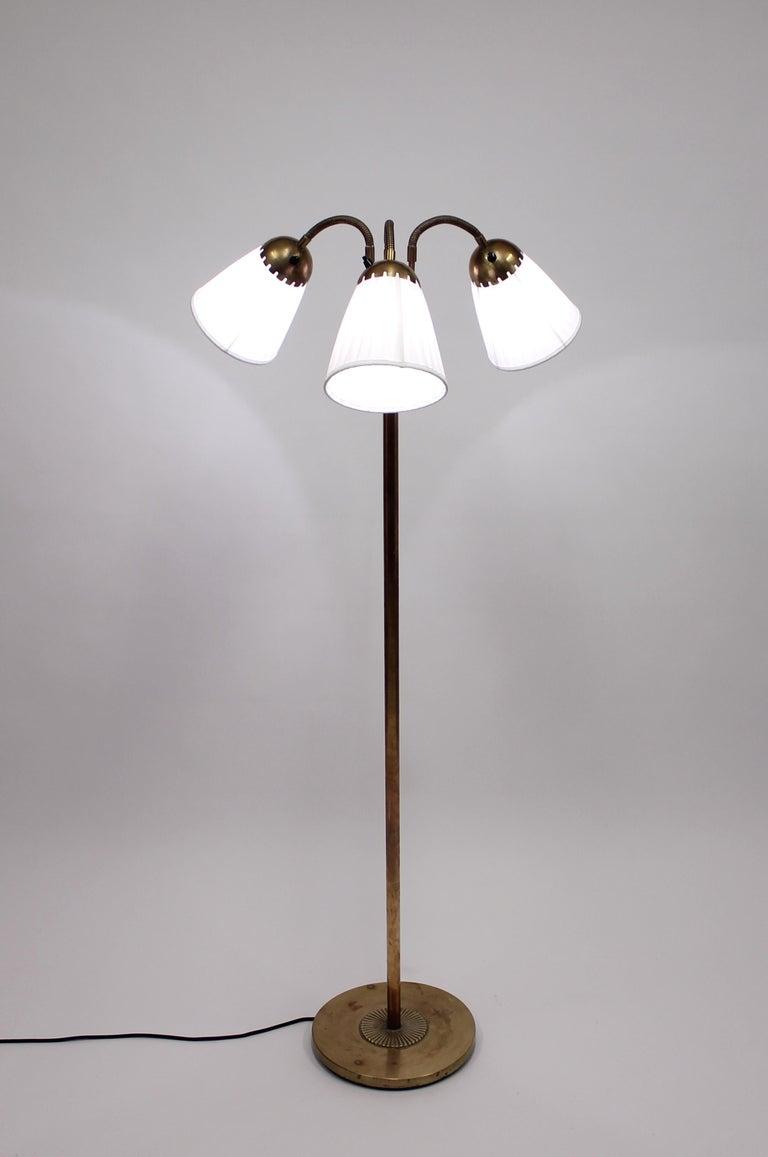Scandinavian Modern Brass Three-Light Floor Lamp, 1940s For Sale