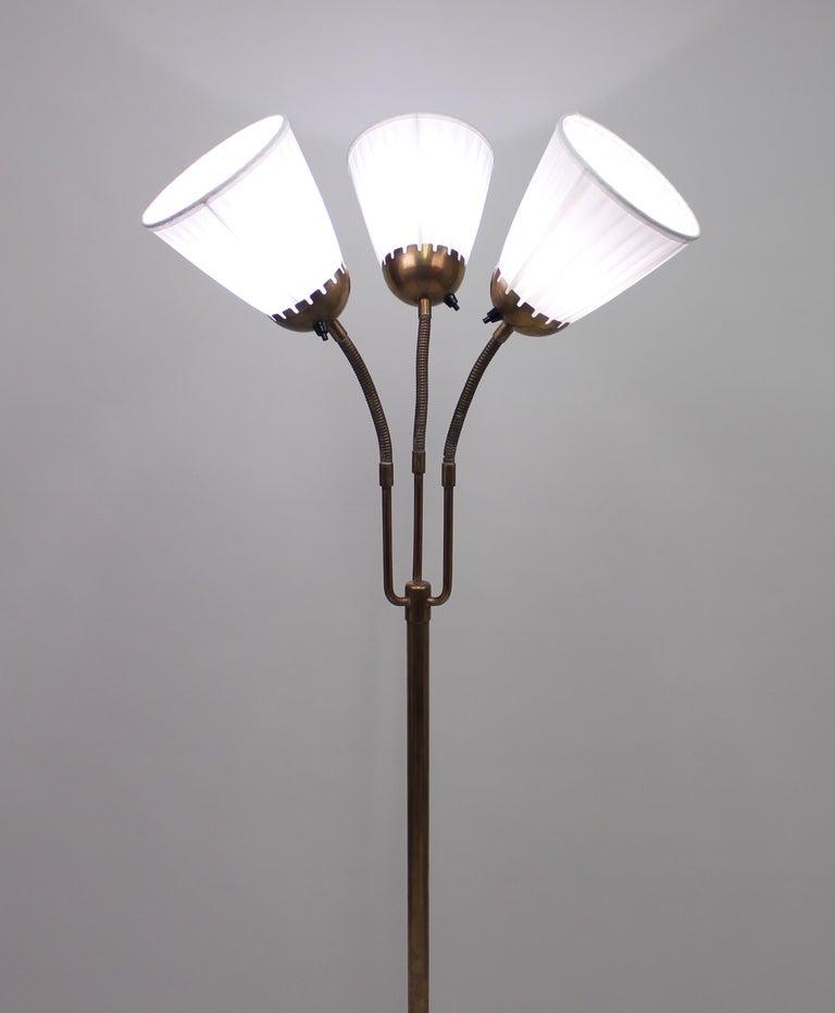 Swedish Brass Three-Light Floor Lamp, 1940s For Sale