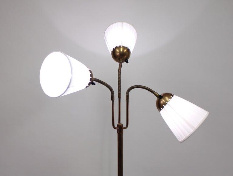 Brass Three-Light Floor Lamp, 1940s In Good Condition For Sale In Uppsala, SE