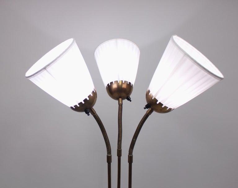 Mid-20th Century Brass Three-Light Floor Lamp, 1940s For Sale