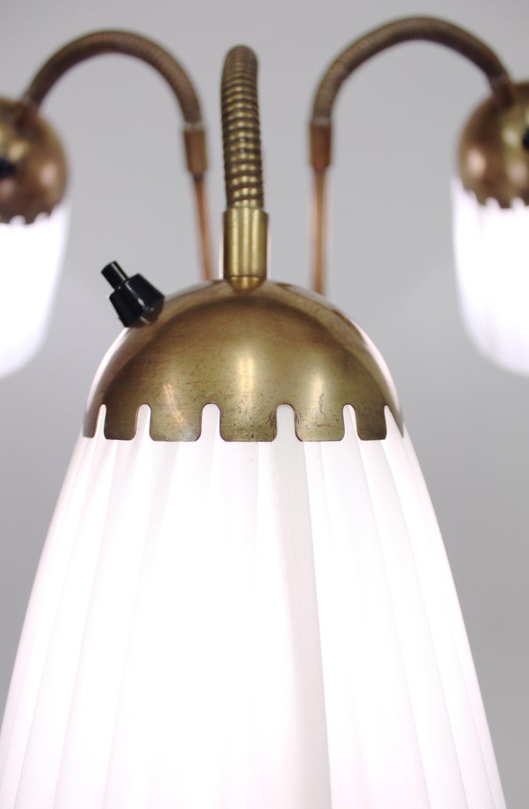 Brass Three-Light Floor Lamp, 1940s For Sale 1