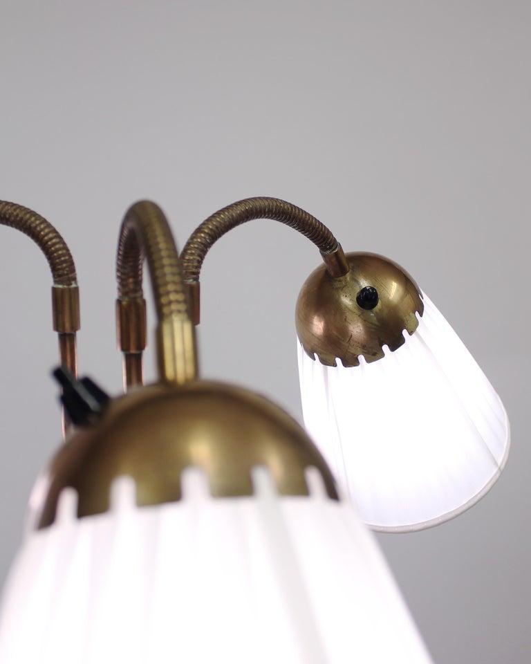 Brass Three-Light Floor Lamp, 1940s For Sale 3