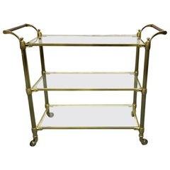 Brass Three-Tier Glass Top Bar Cart with Wrapped Leather Handles