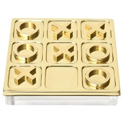 Brass Tic Tac Toe Game Mid-Century Modern