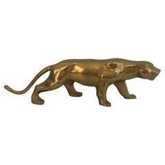 Brass Tiger Sculpture, French, Circa 1970