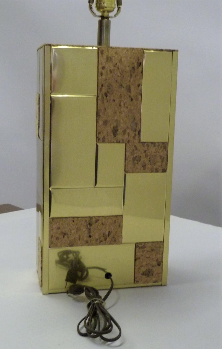 Brass Tile and Cork Paul Evans Cityscape Style 1970s Organic Modern Table Lamp For Sale 4