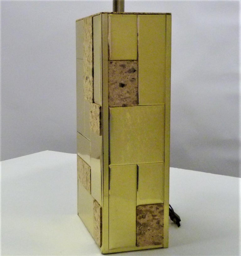 Brass Tile and Cork Paul Evans Cityscape Style 1970s Organic Modern Table Lamp For Sale 5