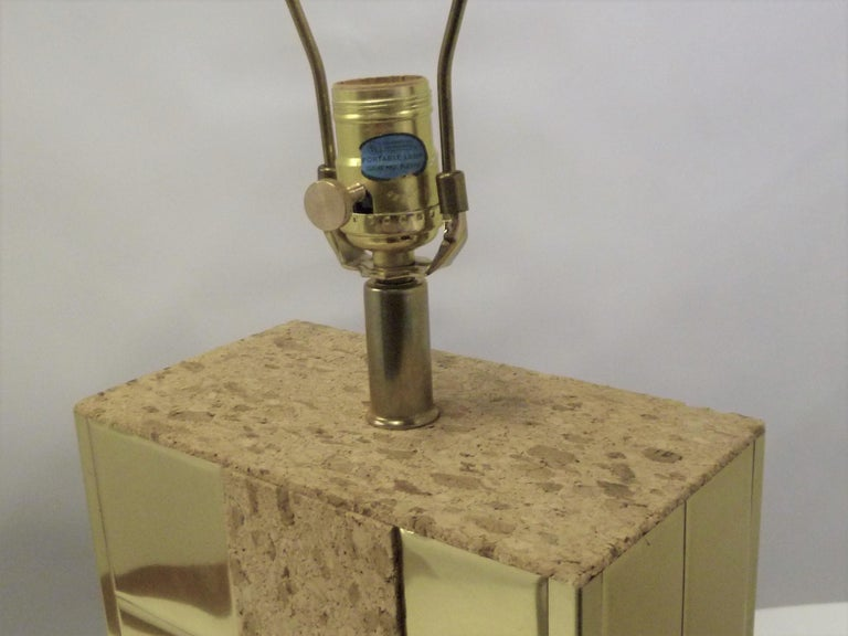 Brass Tile and Cork Paul Evans Cityscape Style 1970s Organic Modern Table Lamp For Sale 6