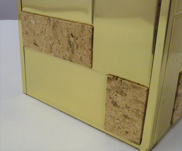 Brass Tile and Cork Paul Evans Cityscape Style 1970s Organic Modern Table Lamp For Sale 7