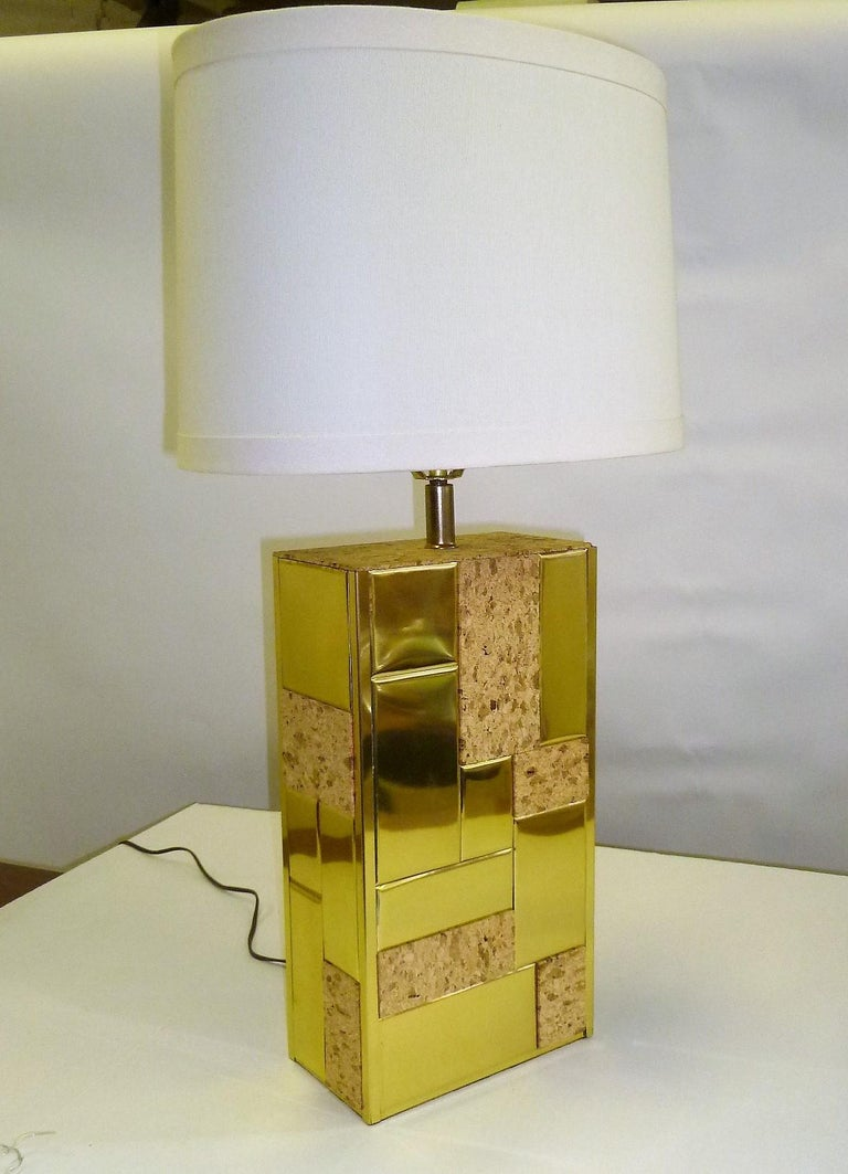 Beautiful brass tile and Cork Paul Evans Cityscape style 1970s Organic modern table lamp with a slim profile. Random brass tiles interspersed by Cork Tiles over a plinth form. Sleek Cityscape style. Just add your shade. Shade shown as