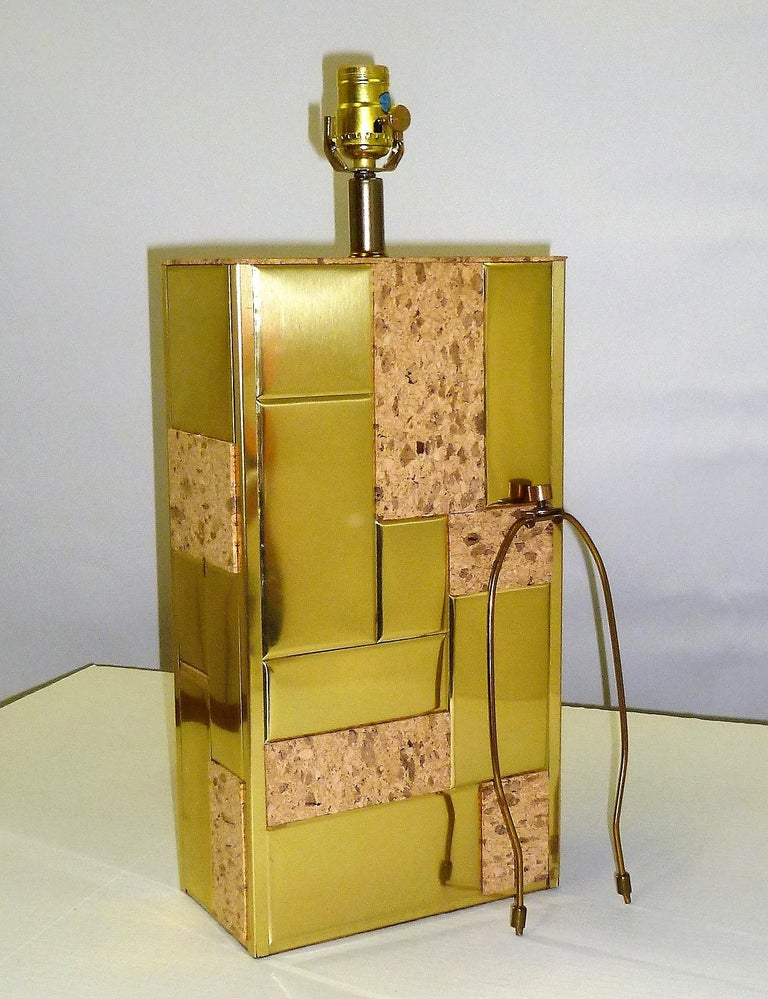 Mid-Century Modern Brass Tile and Cork Paul Evans Cityscape Style 1970s Organic Modern Table Lamp For Sale