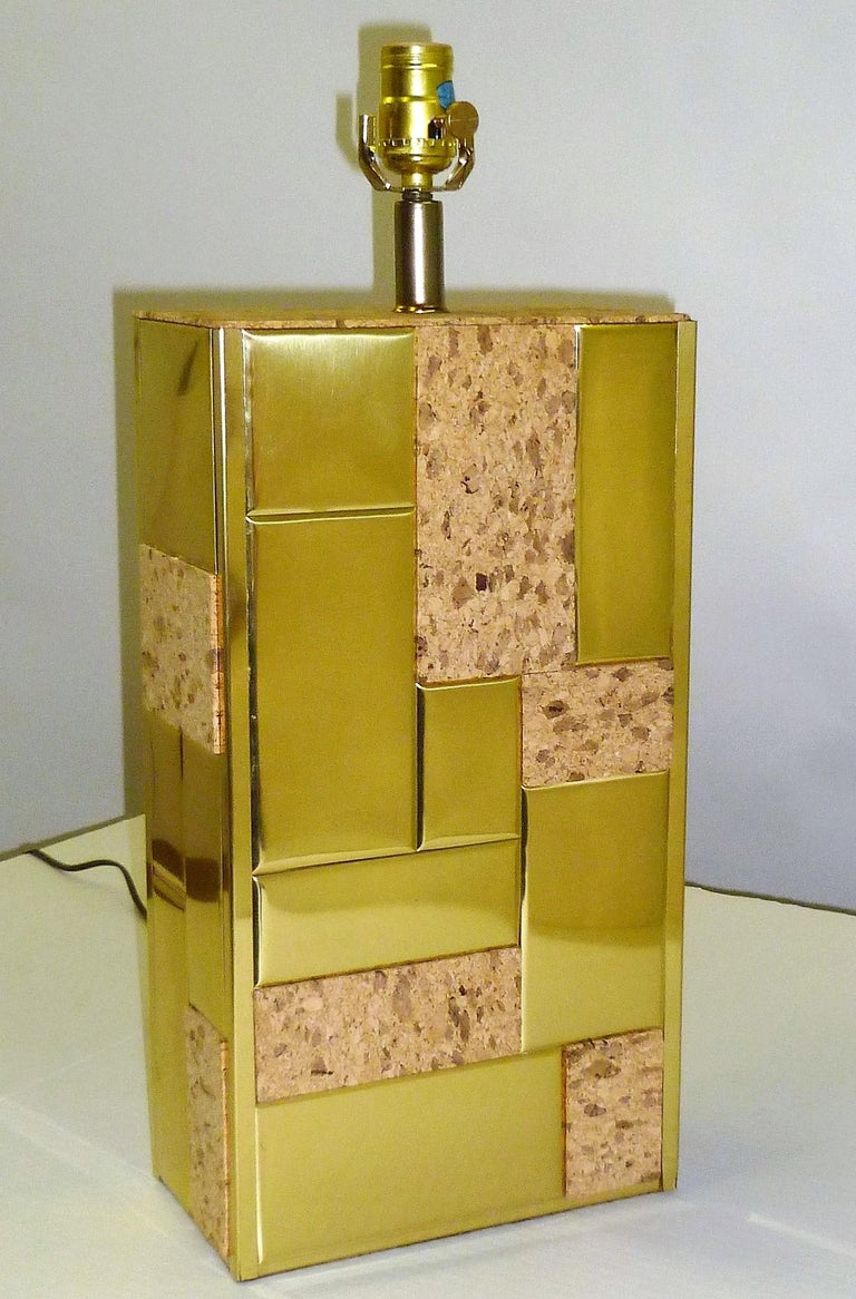 American Brass Tile and Cork Paul Evans Cityscape Style 1970s Organic Modern Table Lamp For Sale