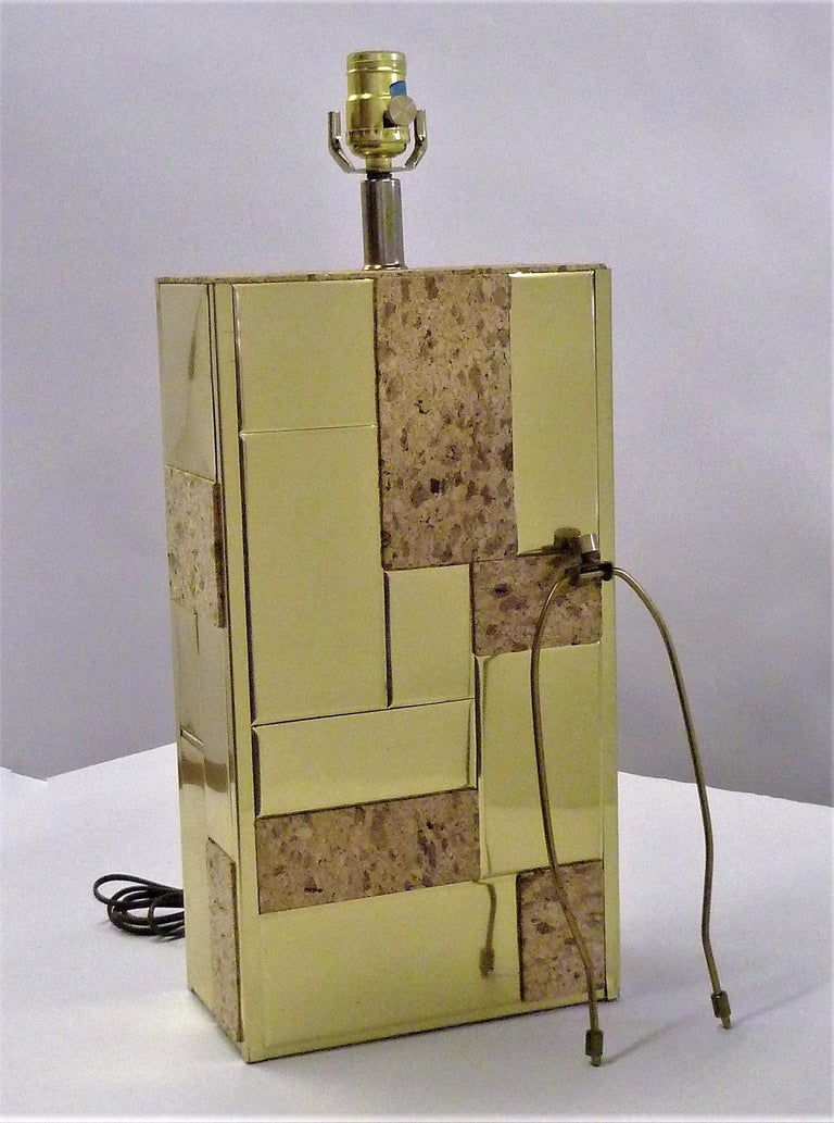 Brass Tile and Cork Paul Evans Cityscape Style 1970s Organic Modern Table Lamp In Good Condition For Sale In Miami, FL