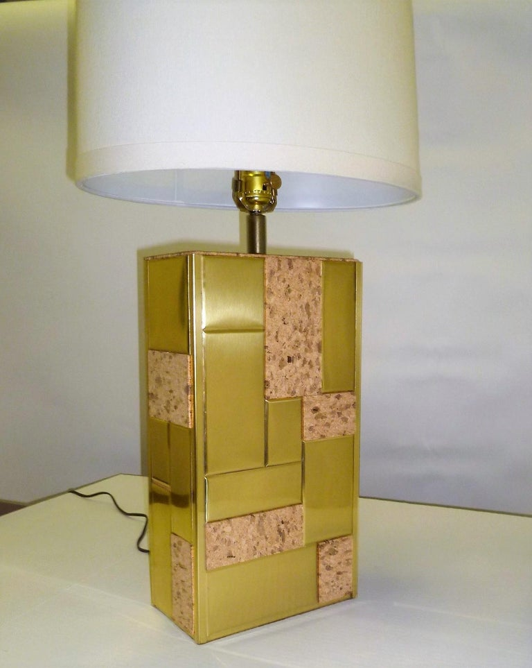 Late 20th Century Brass Tile and Cork Paul Evans Cityscape Style 1970s Organic Modern Table Lamp For Sale