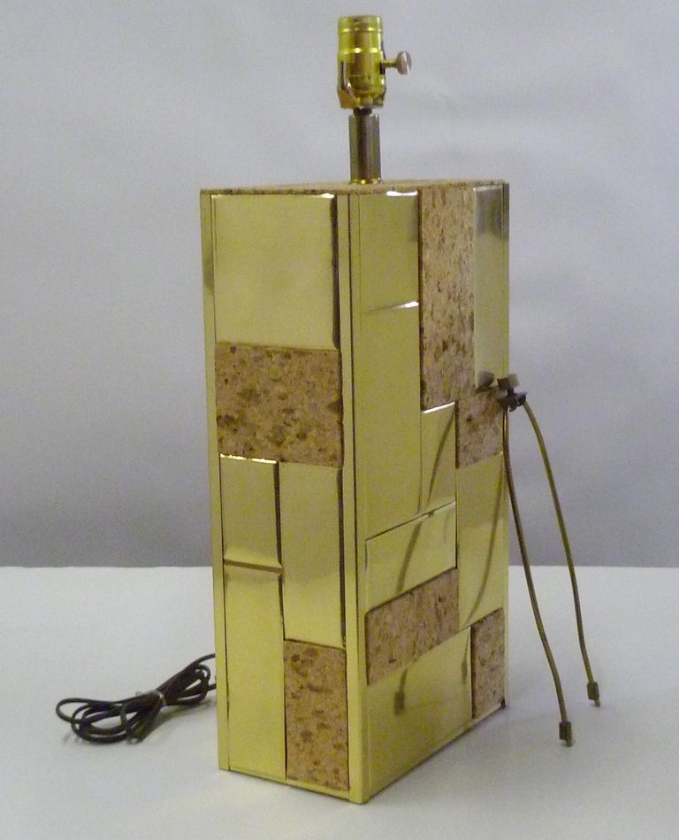 Brass Tile and Cork Paul Evans Cityscape Style 1970s Organic Modern Table Lamp For Sale 1