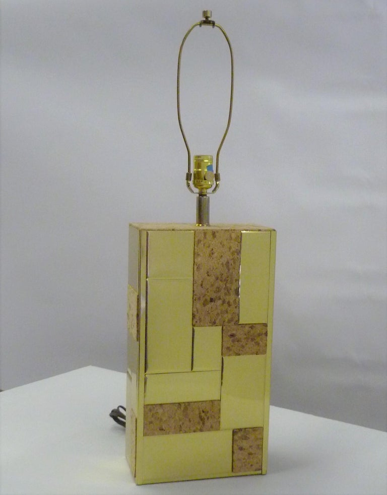 Brass Tile and Cork Paul Evans Cityscape Style 1970s Organic Modern Table Lamp For Sale 2