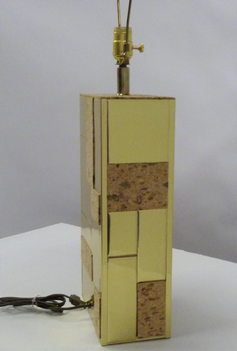 Brass Tile and Cork Paul Evans Cityscape Style 1970s Organic Modern Table Lamp For Sale 3