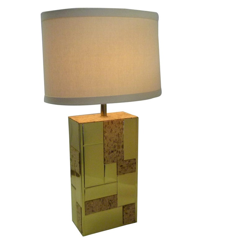 Brass Tile and Cork Paul Evans Cityscape Style 1970s Organic Modern Table Lamp For Sale