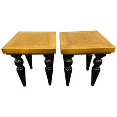 End, Side or Lamp Table in Hollywood Regency Style with Brass Top, a Pair