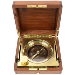 Brass Topographic Compass Placed in Its Original Walnut Box