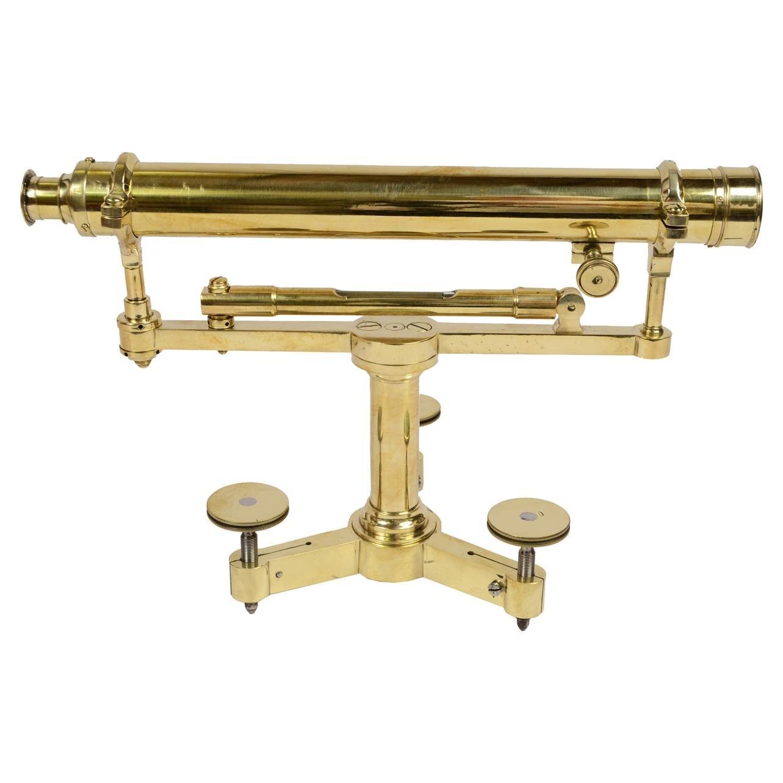 UK  1870 Brass Topographic Level, Antique Surveyor Measurement Instrument
