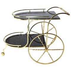 Brass Tortoise Finish Glass Bar Serving Cart on Large Carriage Style Wheels
