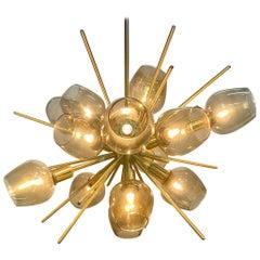 Brass Translucid Blown Glass Pendant Lamp