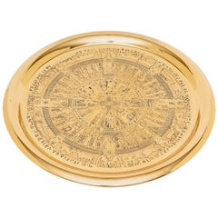 Egyptian Revival Round Brass Tray