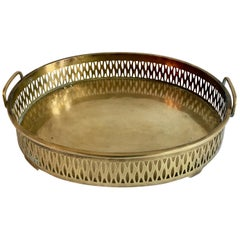 Oval Brass Tray with Deep Gallery Detail