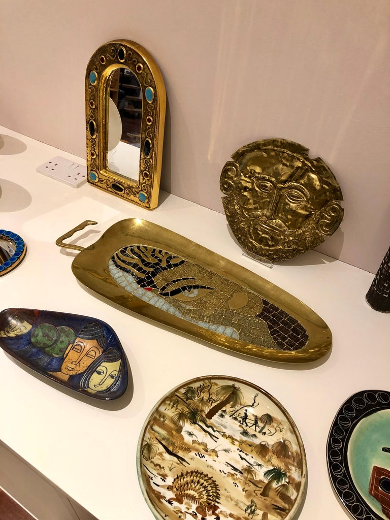 Mid-Century Modern Brass Tray with Mosaic of a Stylised Beauty by Salvador Terán, circa 1950s For Sale