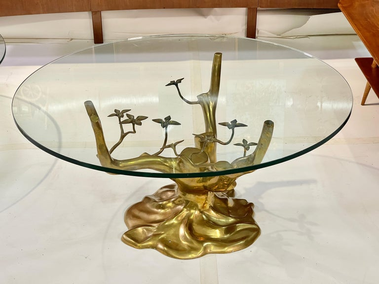 Hollywood Regency Brass Tree Cocktail Table after Willy Daro, Belgium, 1970's For Sale