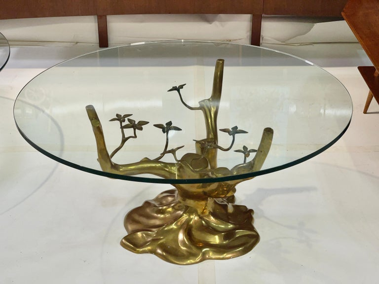 Brass Tree Cocktail Table after Willy Daro, Belgium, 1970's For Sale 3