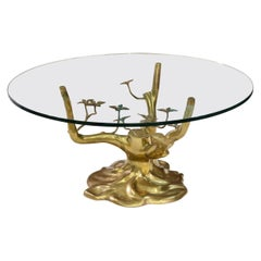 Brass Tree Cocktail Table after Willy Daro, Belgium, 1970's