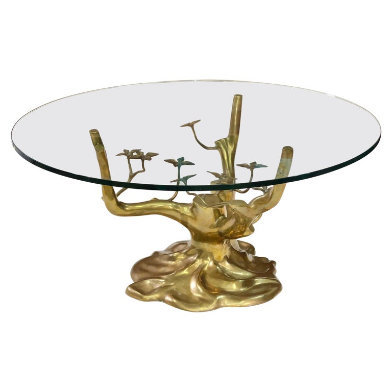 Brass Tree Cocktail Table after Willy Daro, Belgium, 1970's For Sale