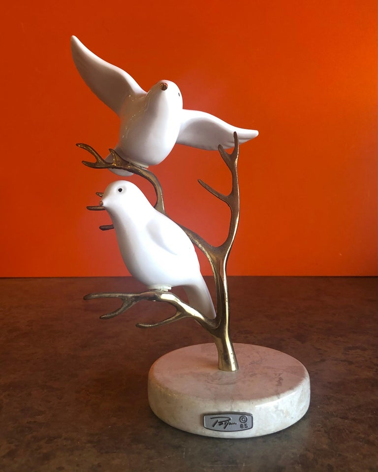 Brass Tree with Ceramic Birds Table Sculpture by Bijan For Sale 8
