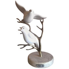 Brass Tree with Ceramic Birds Table Sculpture by Bijan